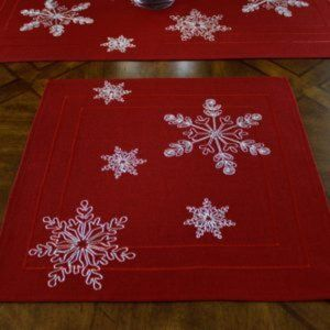 NEW Doily RED FROSTED SNOWFLAKE Square